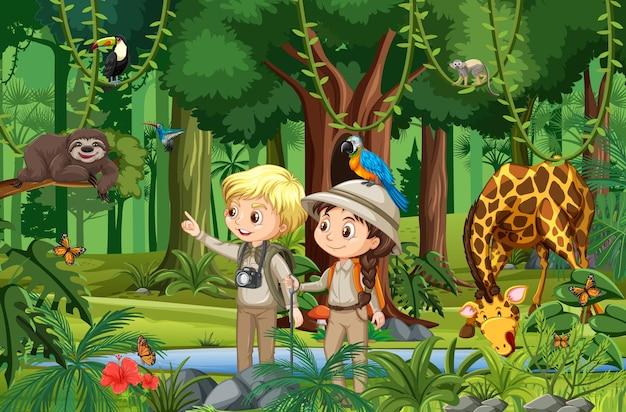 Escena del bosque con niños mirando animales salvajes.