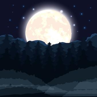 Escena del bosque oscuro de halloween con luna llena