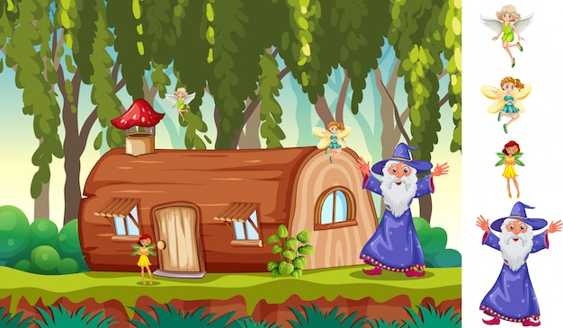 Escena del bosque con personajes de fantasía.