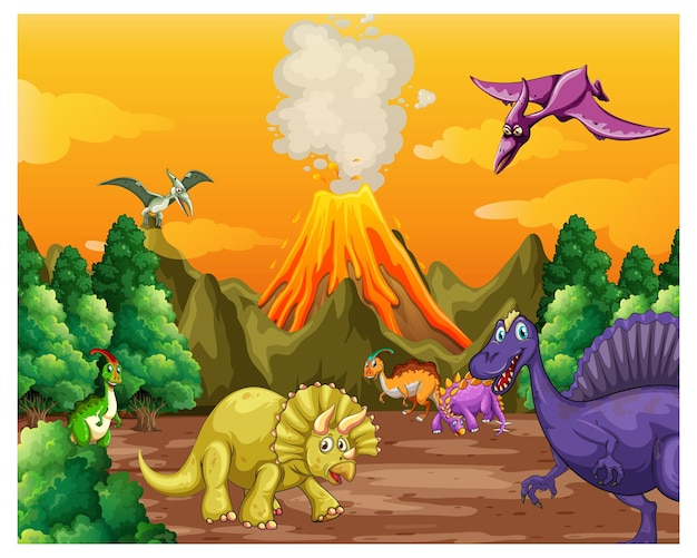 Escena del bosque prehistórico con varios dinosaurios.