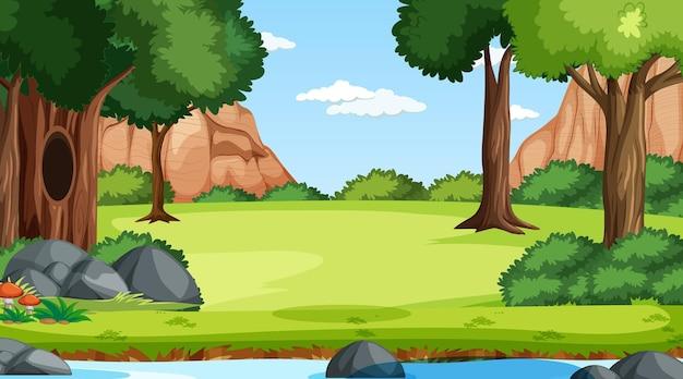 Escena del bosque con varios árboles forestales y arroyo.