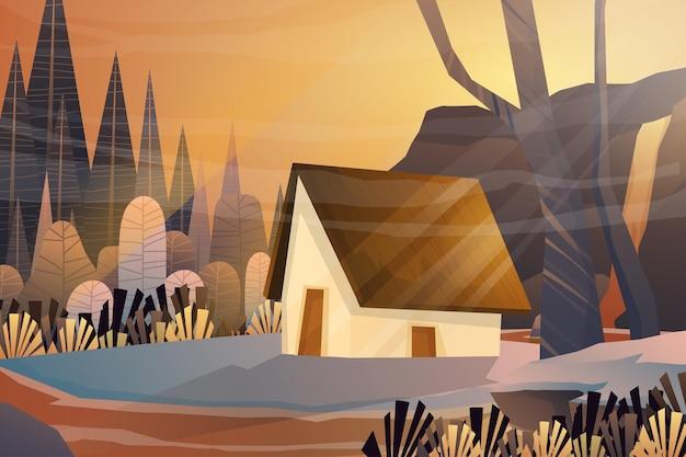 Escena con cabaña en el fondo de los árboles del bosque de la naturaleza, ilustración del paisaje
