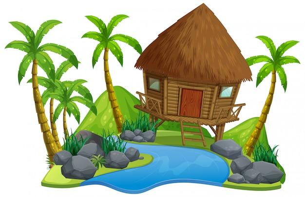 Escena con cabaña de madera y río sobre fondo blanco.