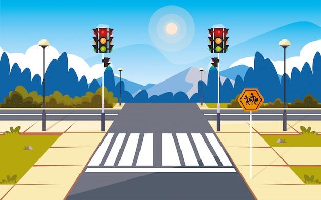 Escena de la calle del camino con semáforo