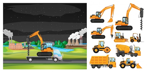 Escena con camión conduciendo por la zona industrial.