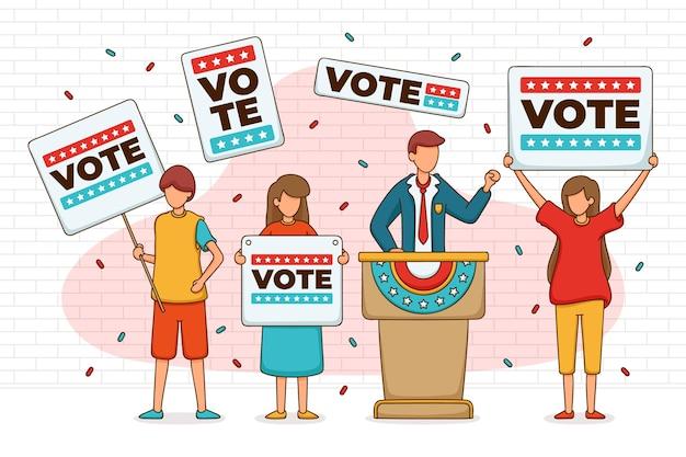 Escena de campaña electoral con gente ilustrada.
