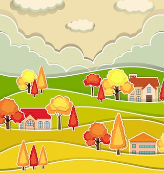 Escena de campo con casas y árboles en otoño