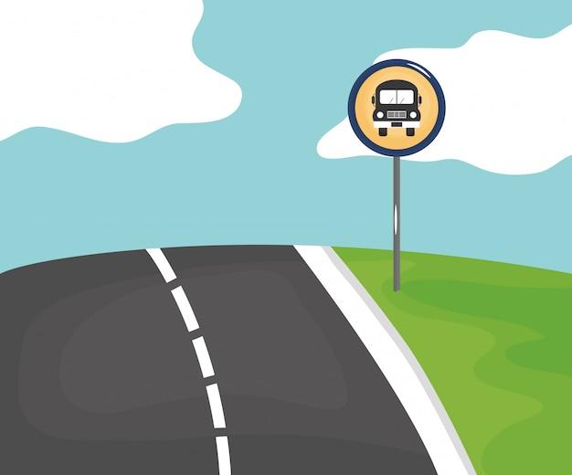 Escena de carretera con señal de parada de bus