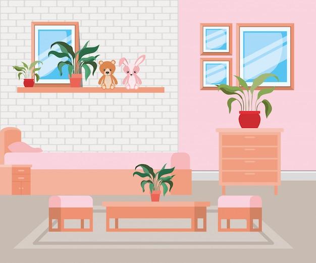 Escena de casa hermosa habitación de cama