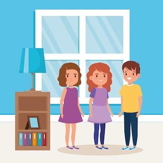 Escena de casa interior de niños pequeños lindos