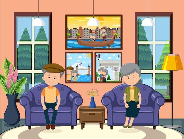 Escena de la casa interior con una pareja de ancianos.