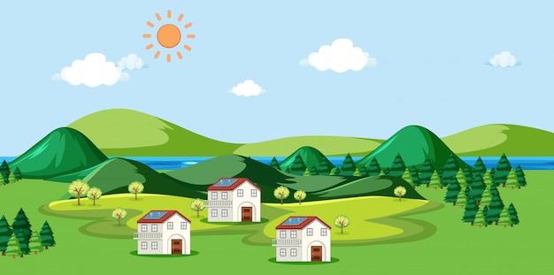 Escena con casas y células solares en el techo.