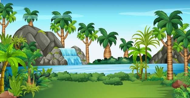 Escena con cascada y lago