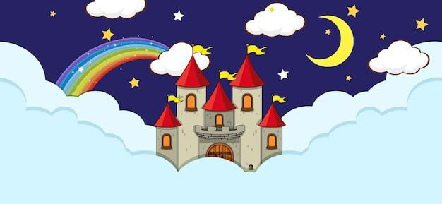 Escena con castillo de fantasía en la nube por la noche.
