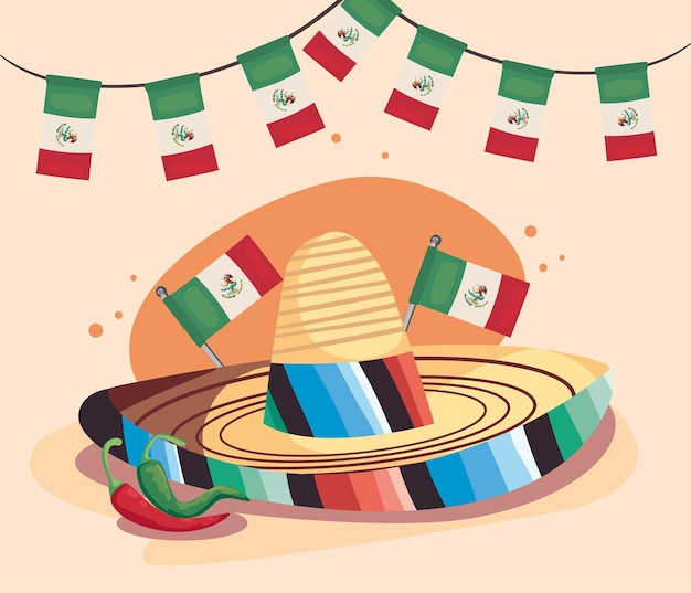 Escena de celebración del día de la independencia mexicana