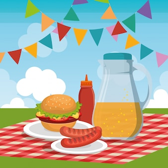 Escena de celebración de fiesta de picnic