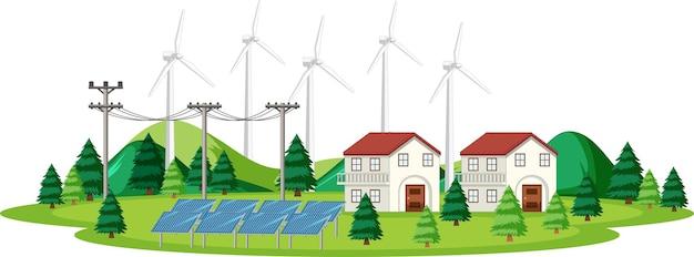 Escena con célula solar y turbinas eólicas en casa.