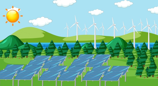 Escena con células solares y turbinas en el campo.