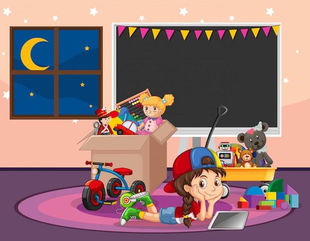 Escena con chica relajante en la sala llena de juguetes