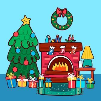 Escena de chimenea de navidad con árbol y corona