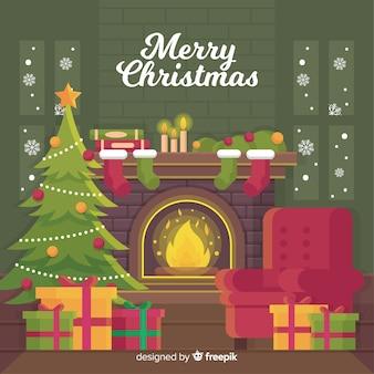 Escena de chimenea de navidad