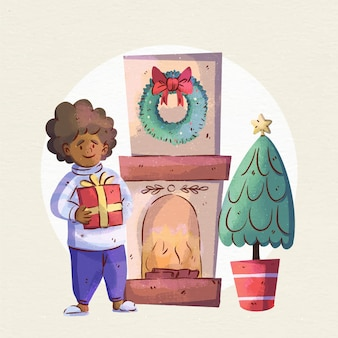 Escena de chimenea navideña en acuarela