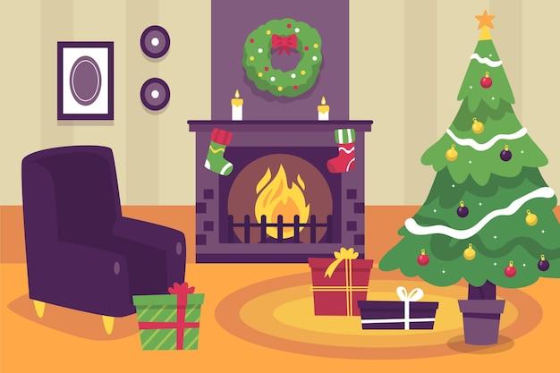 Escena de chimenea navideña dibujada a mano