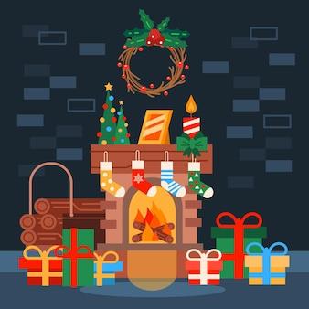 Escena de chimenea navideña en diseño plano