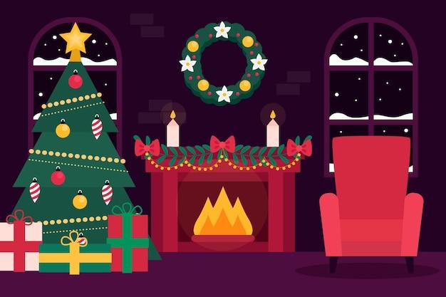 Escena de chimenea navideña de diseño plano