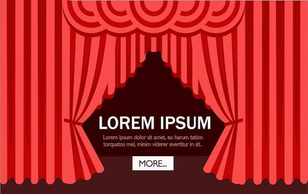 Escena de cine o teatro con una cortina roja. ilustración. página del sitio web y aplicación móvil. lugar para el texto