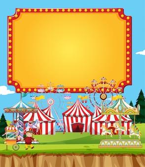 Escena de circo con estandarte en el cielo