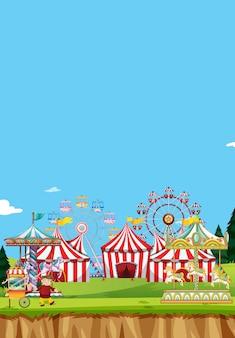 Escena de circo con muchas atracciones durante el día.
