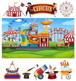 Escena de circo con muchas atracciones y plantilla de señal