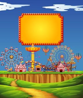 Escena de circo con plantilla de signo en el cielo