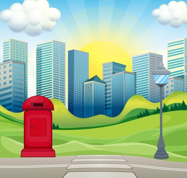 Escena de la ciudad con edificios de oficinas e ilustración del parque
