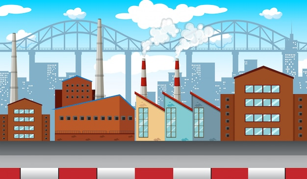 Escena de la ciudad con fábricas y edificios.