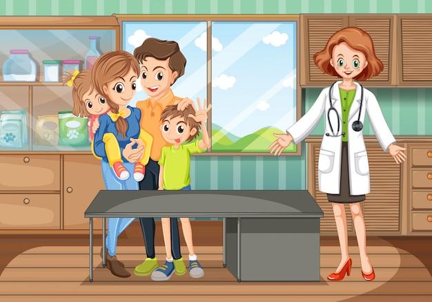 Escena clínica con médico y familia.