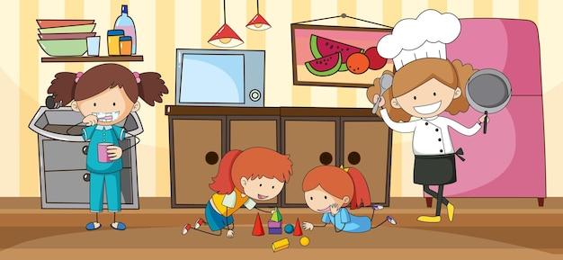 Escena de cocina en blanco con muchos niños doodle personaje de dibujos animados