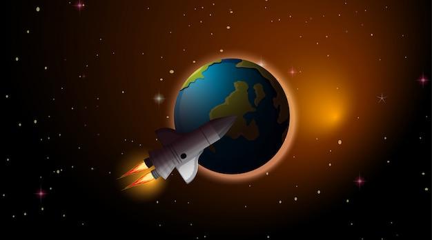 Escena de cohete y tierra