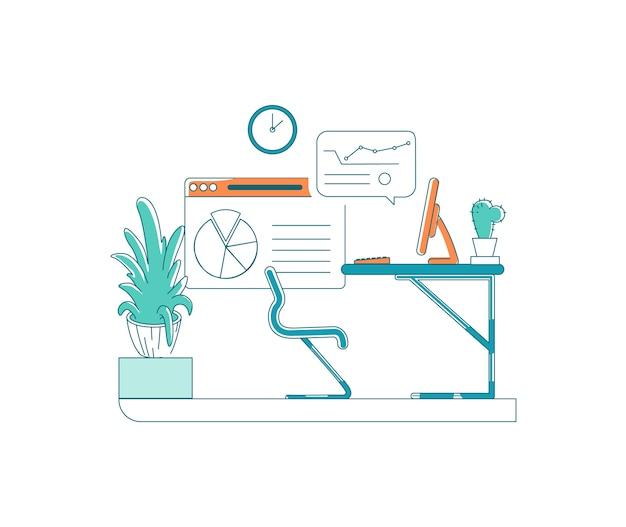 Escena de color plano de la oficina del gerente
