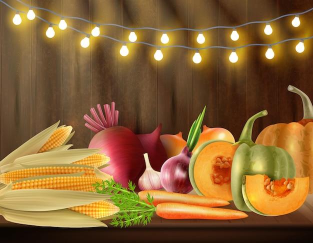 Escena coloreada del día de acción de gracias con bodegones vegetales sobre la mesa y luces en la ilustración de vector superior