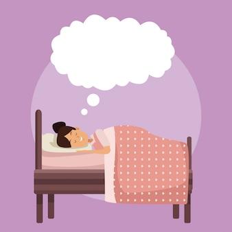 Escena colorida chica dormir con manta en el dormitorio con rótulo en la nube