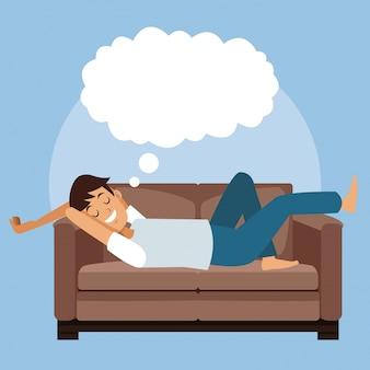 Escena colorida hombre dormir con en sofá con rótulo en la nube