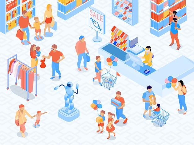 Escena de compras familiares cerca de la caja de los padres e hijos del centro comercial durante la ilustración de vector isométrica de elección de productos