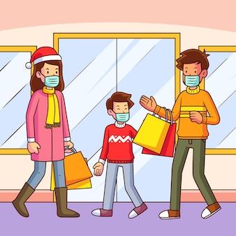 Escena de compras navideñas con familia con máscaras.