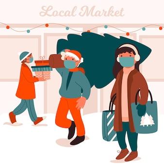 Escena de compras navideñas con gente con máscaras.