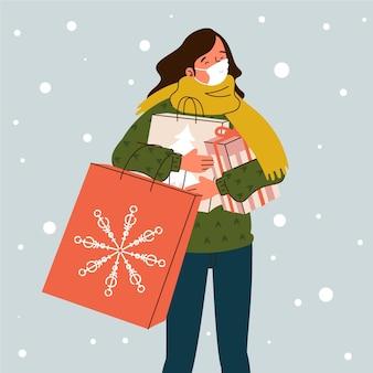 Escena de compras navideñas con máscaras.