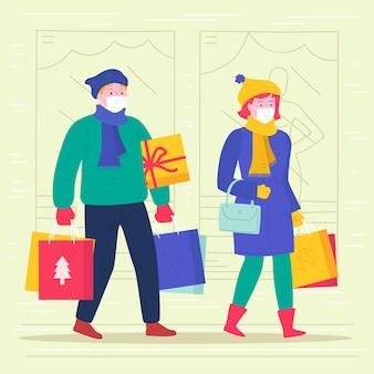 Escena de compras navideñas - con máscaras