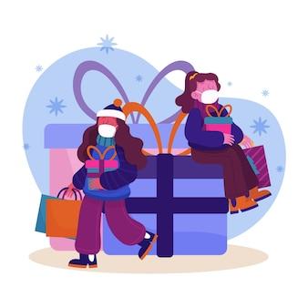 Escena de compras navideñas con mujeres con máscaras.