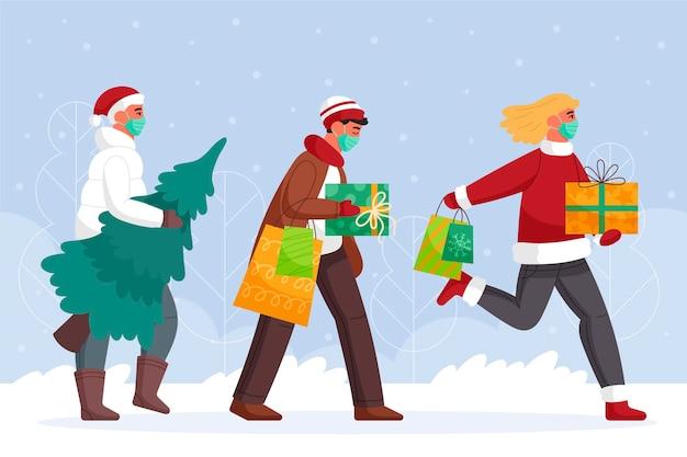 Escena de compras navideñas con personas con máscara médica.